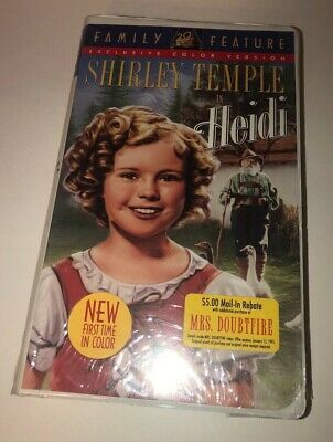 FACTORY SEALED Heidi - Shirley Temple Classic Family Movie VHS Tape NEW!