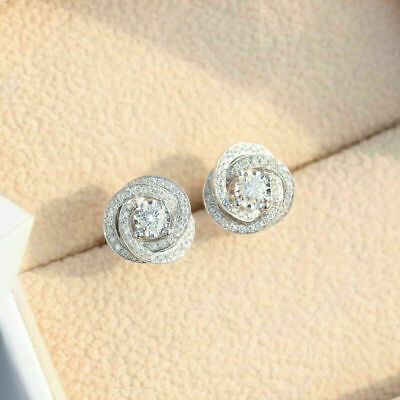 G-H Color, I Clarity Ornaatis 0.86 Cttw Round Cut White Natural Diamond Knot Stud Earrings in Sterling Silver