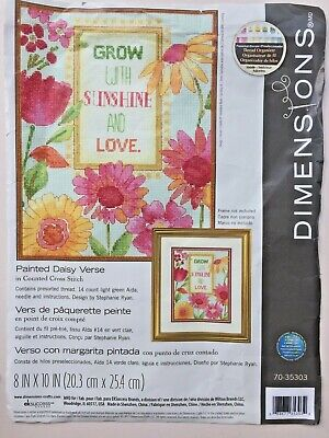"""Dimensions Painted Daisy Verse Cross Stitch Kit 14 Count Green Aida 8 x 10"""""""