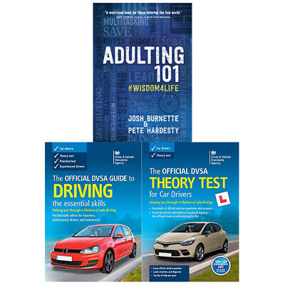 Adulting 101:Practical,Official DVSA Guide to Driving 3 Books Collection Set New