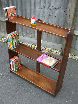 Vintage oak bookcase, unusual design, high shelf space for larger books
