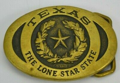 Vintage Texas The Lone Star State Heritage Mint Brass Belt Buckle 1977 3.25x2.25