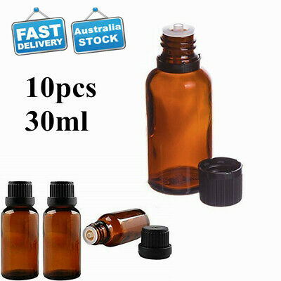 10Pcs 30ML Amber Glass Essential Oil Bottle Dropper Orifice Reducer Container