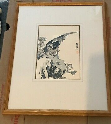 Japanese Woodblock Print Kono Bairei 19thC 1881-1889 Ex Liberty London Bird