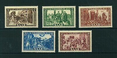 Germany Saar 1950 National Relief Fund full set of stamps. Mint. Sg 296-300.