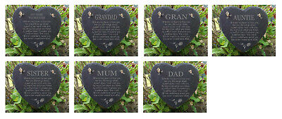 Memorial Slate Stone Heart Engraved Plaque Rememberance Dad Mum Grave Marker