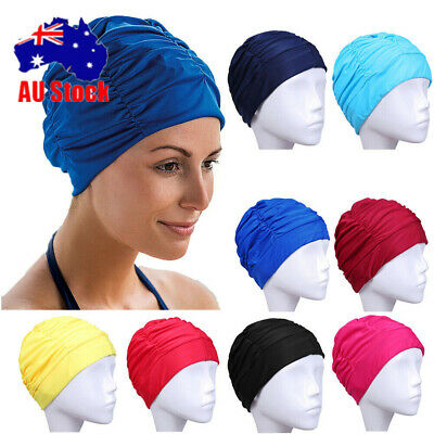 Stylish Waterproof Women Long Hair Elastic Swim Cap Ladies Swimming Nylon Hat I