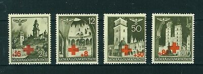 Germany 1940 WWII Occ. in Poland Red Cross Surcharged set of stamps. Mint.
