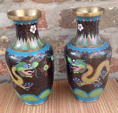 Pair Of Vintage Oriental Cloisonne Enamel And Brass Vases With Dragons 24Cm Tall