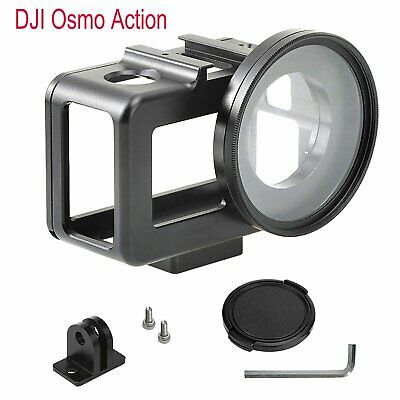 Alloy Protection Frame Cage Case with 52mm UV Lens&Hot Shoe for DJI Osmo Action
