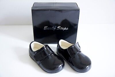 Early Steps Prince Baby Boys 6-9-12 Months Non-Slip Shoes Patent Black UK 2 EU18