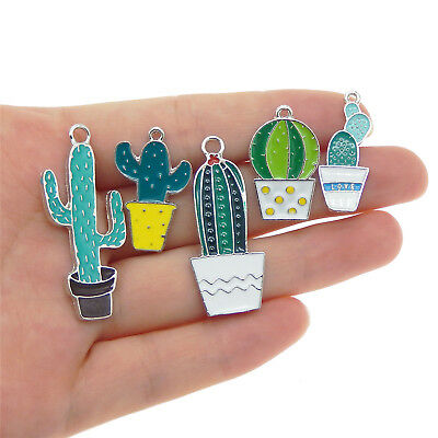 10 pcs Colorful Enamel Mixed Metal Cactus Succulent Charms Pendants Findings DIY
