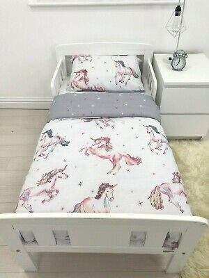 Girls White & Pink Unicorn Cot Toddler Junior Bed Duvet Quilt Cover Bedding Sets