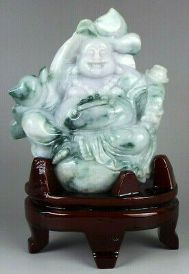 Large Jade Statue Smiling Buddha carved in natural Jadeite Jade Certified 6""