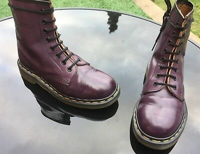 Vintage Dr Martens 1460 purple arcadia leather boots UK 4 EU 37 Made in England
