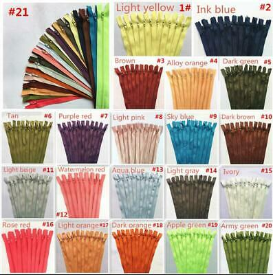 20-100 pcs Nylon Coil Zippers Tailor Sewer Craft(12-16 Inch)20 colour(U PICK)@