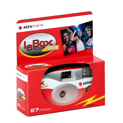 Agfa LeBox Single Use Disposable Camera with Flash 27exp - DATED 09-2020