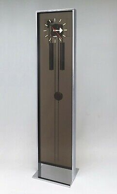 Vintage Howard Miller Chrome and Smoked Acrylic Grandfather Clock - George Nelso