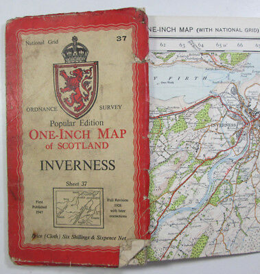 1947 Old OS Ordnance Survey Popular Edition Scotland one-inch map 37 Inverness
