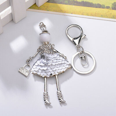 Key Chains Pretty Alloy Key Chain White Round Piece Skirt Doll Style Crystal Bag