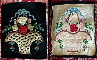 1820-40 Lovely English Stumpwork Woolwork Embroidery Velvet Panel Funeral Basket