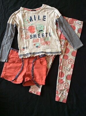 Girl's George 3 Pc Set Top, Leggings & Shorts size 7-8-9 years