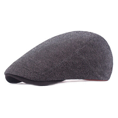 Women Mens Cotton Solid Beret Caps Casual Adjustable Forward Hat Peaked Cap