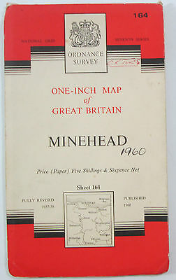 1960 Old Vintage OS Ordnance Survey Map Seventh Series One-Inch 164 Minehead