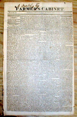 Best 1821 display headline newspaper INAUGURATION of US PRESIDENT JAMES MONROE