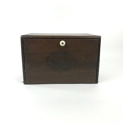 """Vintage Wood Bread Box Solid Pine Porcelain Knob Hinged Front  14"""" x 9"""" x 9"""""""