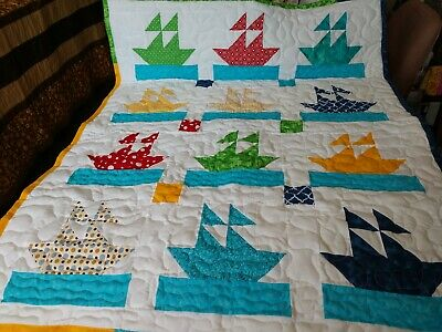 Handmade Boy Girl Pieced Sailor Boat Ship Baby Crib Quilt Many Colors  Blanket