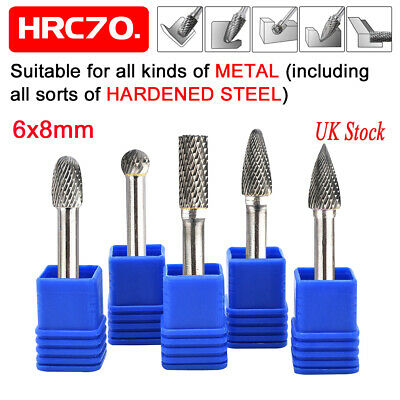 6*8mm 5pcs Tungsten Carbide Set Rotary Point Burr Die Shank Grinder Drill Bits