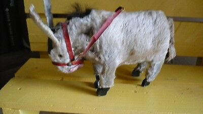 """3.5"""" Antique Victorian Fur Donkey Windup Toy - French Fashion All Bisque  Doll"""