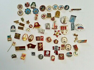 Collection of 62 Russian Communist Soviet Pin Badges Lenin and Others