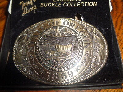 1970's Tony Lama 1st Edition State Seal Brass Belt Buckle Oregon