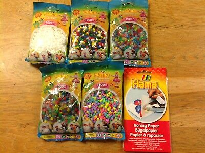 Hama Bead Bundle New 5 1000 Piece Midi Packs And Ironing Paper Pack Great Gift