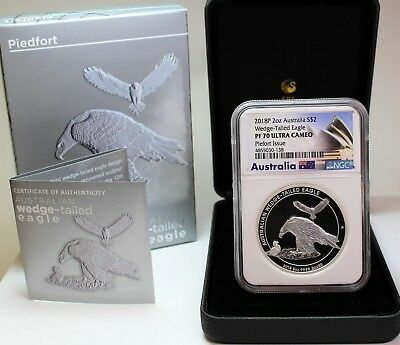 2018 P $2 Australia 2oz Silver Proof Wedge Tailed Eagle Piedfort Issue NGC PF70