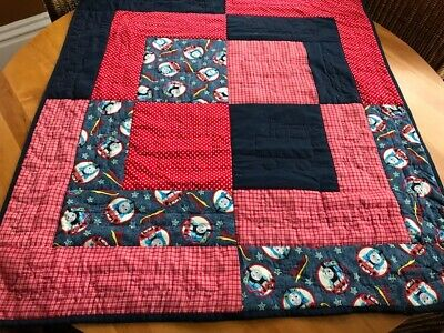 "Thomas the Train Baby Quilt or Play Mat, Hand Quilted & Signed, 34"" x 38"", Iowa"