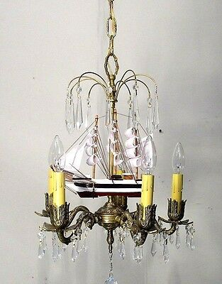 Antique Vintage Chandelier Bronze  Ship  Sail Boat Pendant Ceiling Fixture Light