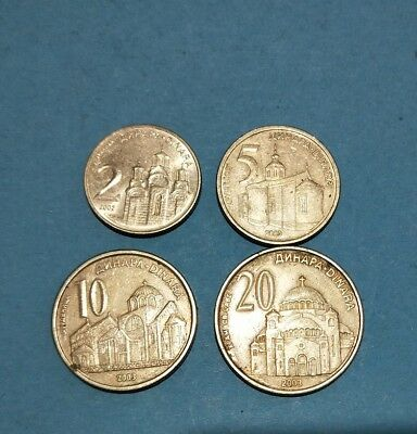 Serbia nice lot of 4 different coins : 2 5 10 20 Dinara