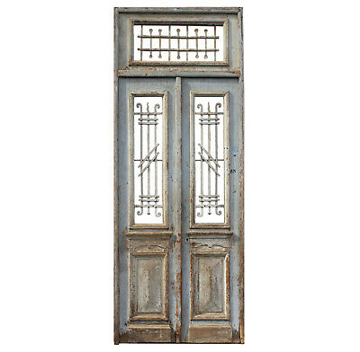 """Pair of Antique French Colonial 43"""" Doors with Transom, NED1018"""