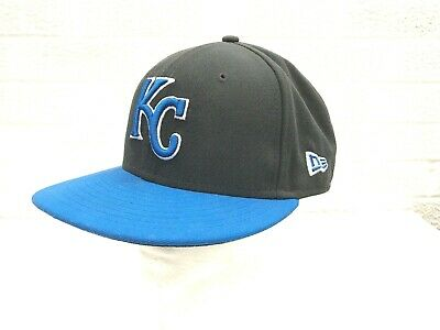 official photos 3ff2a 2c8d5 New Era 59Fifty Cap MLB Kansas City Royals Blue On Gray Fitted Hat Size 7 1