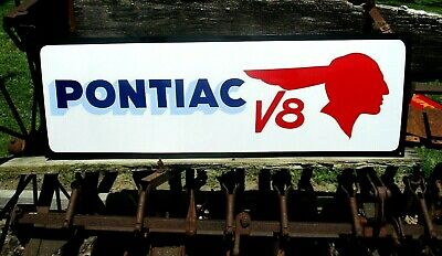 """Vintage Metal Old Antique Style Pontiac CARS Truck Gas Oil 36"""" Hand Painted Sign"""
