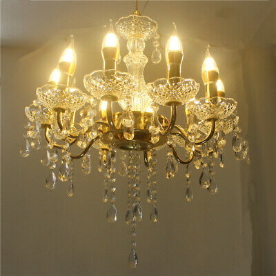 Crystal Candle Chandelier Wrought Iron Living Room Electroplating Pendent Lamp