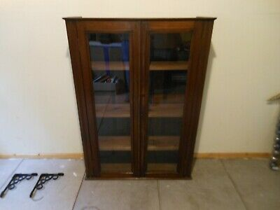 Antique Vintage pine and mahogany  Glazed  Bookcase / Display Cabinet
