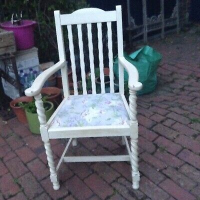 Pair Of Shabby Chic Vintage  Oak Barley Twist Carver Chairs Laura Ashley Seats