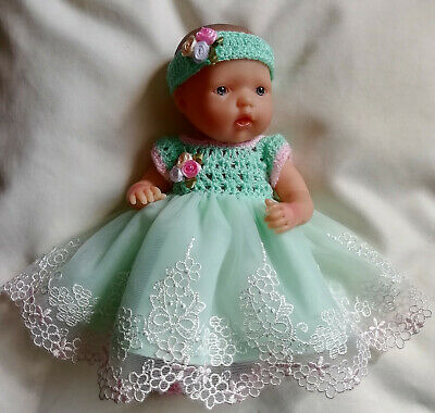 """Doll Clothes Hand Crochet & Lace Dress Set For 7.5"""" Berenguer Baby Doll by Sian"""