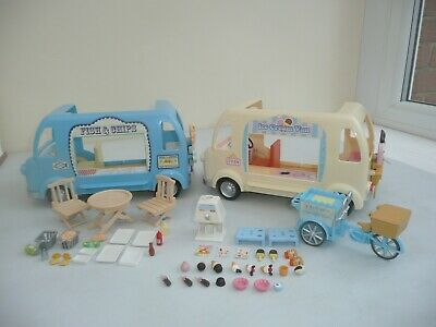 sylvanian families ice cream van / fish & chip van with accessories