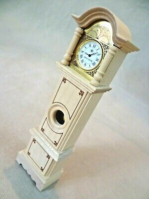 Vintage Dolls House Bodo Hennig Wooden Grandfather Clock With Working Clock