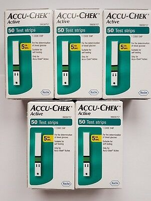 ACCU-CHEK ACTIVE BLOOD GLUCOSE TEST STRIPS ~ 5 packs of 50 strips ~ Exp Mar 2020